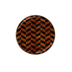Chevron1 Black Marble & Brown Burl Wood Hat Clip Ball Marker (10 Pack) by trendistuff