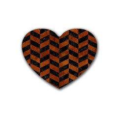 Chevron1 Black Marble & Brown Burl Wood Rubber Coaster (heart) by trendistuff