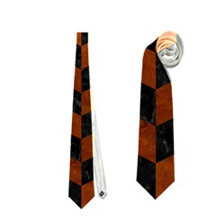 Chevron1 Black Marble & Brown Burl Wood Necktie (two Side) by trendistuff