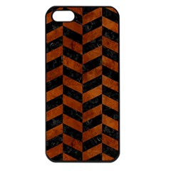 Chevron1 Black Marble & Brown Burl Wood Apple Iphone 5 Seamless Case (black) by trendistuff