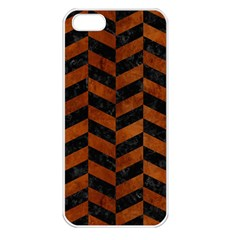 Chevron1 Black Marble & Brown Burl Wood Apple Iphone 5 Seamless Case (white) by trendistuff