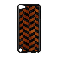 Chevron1 Black Marble & Brown Burl Wood Apple Ipod Touch 5 Case (black) by trendistuff