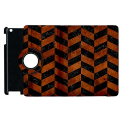 Chevron1 Black Marble & Brown Burl Wood Apple Ipad 2 Flip 360 Case by trendistuff