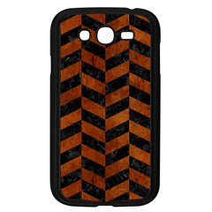 Chevron1 Black Marble & Brown Burl Wood Samsung Galaxy Grand Duos I9082 Case (black) by trendistuff