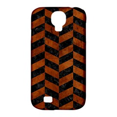 Chevron1 Black Marble & Brown Burl Wood Samsung Galaxy S4 Classic Hardshell Case (pc+silicone) by trendistuff