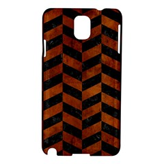 Chevron1 Black Marble & Brown Burl Wood Samsung Galaxy Note 3 N9005 Hardshell Case