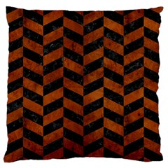Chevron1 Black Marble & Brown Burl Wood Large Flano Cushion Case (one Side) by trendistuff