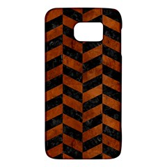 Chevron1 Black Marble & Brown Burl Wood Samsung Galaxy S6 Hardshell Case  by trendistuff