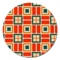 Squares And Rectangles In Retro Colors 			magnet 5  (round) by LalyLauraFLM