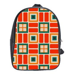 Squares And Rectangles In Retro Colors 			school Bag (large) by LalyLauraFLM