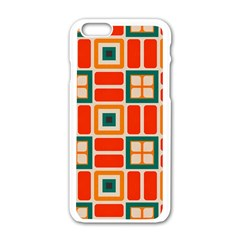 Squares And Rectangles In Retro Colors 			apple Iphone 6/6s White Enamel Case by LalyLauraFLM