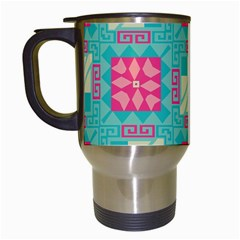 Pink Flowers In Squares Pattern Travel Mug (white) by LalyLauraFLM