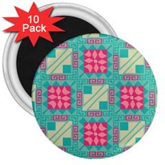 Pink Flowers In Squares Pattern 			3  Magnet (10 Pack) by LalyLauraFLM