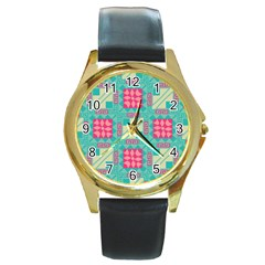 Pink Flowers In Squares Pattern 			round Gold Metal Watch by LalyLauraFLM
