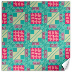 Pink Flowers In Squares Pattern 			canvas 20  X 20  by LalyLauraFLM