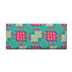 Pink Flowers In Squares Pattern 			hand Towel by LalyLauraFLM