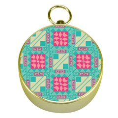 Pink Flowers In Squares Pattern 			gold Compass by LalyLauraFLM