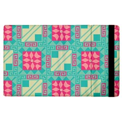 Pink Flowers In Squares Pattern 			apple Ipad 2 Flip Case by LalyLauraFLM