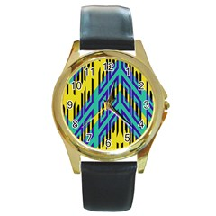 Tribal Angles 			round Gold Metal Watch by LalyLauraFLM