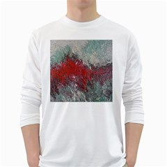 Metallic Abstract 2 White Long Sleeve T-shirts by timelessartoncanvas