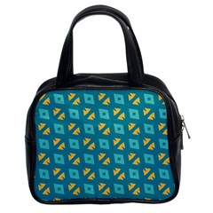 Blue Yellow Shapes Pattern Classic Handbag (two Sides) by LalyLauraFLM