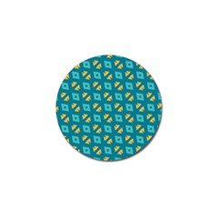 Blue Yellow Shapes Pattern 			golf Ball Marker (4 Pack) by LalyLauraFLM