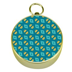 Blue Yellow Shapes Pattern 			gold Compass by LalyLauraFLM