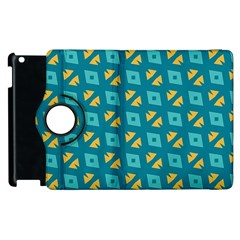 Blue Yellow Shapes Pattern 			apple Ipad 2 Flip 360 Case by LalyLauraFLM