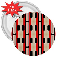 Rectangles And Stripes Pattern 			3  Button (10 Pack) by LalyLauraFLM