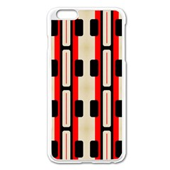 Rectangles And Stripes Pattern 			apple Iphone 6 Plus/6s Plus Enamel White Case by LalyLauraFLM