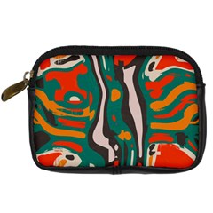 Retro Colors Chaos 	digital Camera Leather Case by LalyLauraFLM