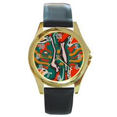 Retro Colors Chaos 			round Gold Metal Watch by LalyLauraFLM
