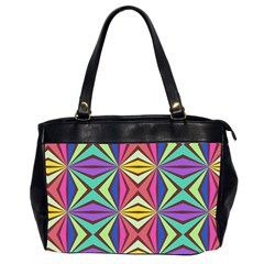 Connected Shapes In Retro Colors  Oversize Office Handbag (2 Sides) by LalyLauraFLM
