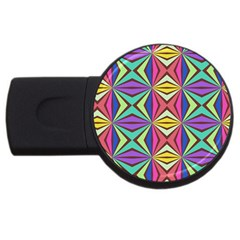 Connected Shapes In Retro Colors  			usb Flash Drive Round (2 Gb) by LalyLauraFLM
