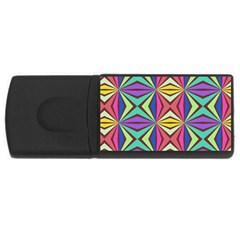 Connected Shapes In Retro Colors  			usb Flash Drive Rectangular (4 Gb) by LalyLauraFLM