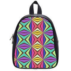 Connected Shapes In Retro Colors  			school Bag (small) by LalyLauraFLM