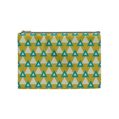 White Blue Triangles Pattern Cosmetic Bag by LalyLauraFLM