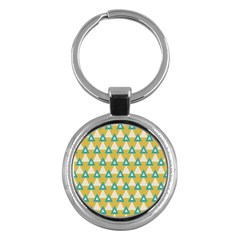 White Blue Triangles Pattern 			key Chain (round) by LalyLauraFLM