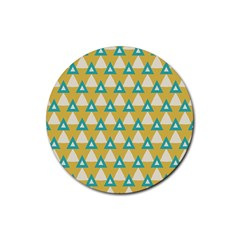 White Blue Triangles Pattern 			rubber Coaster (round) by LalyLauraFLM