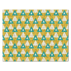White Blue Triangles Pattern 			jigsaw Puzzle (rectangular) by LalyLauraFLM