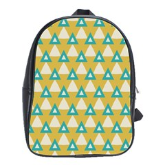White Blue Triangles Pattern 			school Bag (large) by LalyLauraFLM