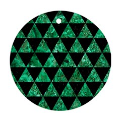 Triangle3 Black Marble & Green Marble Ornament (round) by trendistuff