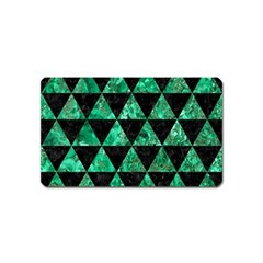 Triangle3 Black Marble & Green Marble Magnet (name Card) by trendistuff