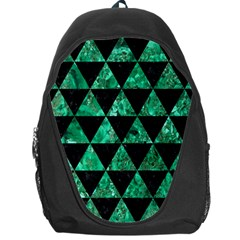 Triangle3 Black Marble & Green Marble Backpack Bag by trendistuff