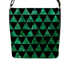 Triangle3 Black Marble & Green Marble Flap Closure Messenger Bag (l) by trendistuff