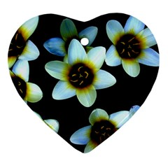 Light Blue Flowers On A Black Background Ornament (heart)