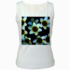 Light Blue Flowers On A Black Background Women s Tank Tops by Costasonlineshop