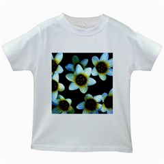 Light Blue Flowers On A Black Background Kids White T Shirts by Costasonlineshop
