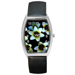 Light Blue Flowers On A Black Background Barrel Metal Watches by Costasonlineshop