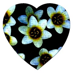 Light Blue Flowers On A Black Background Jigsaw Puzzle (heart) by Costasonlineshop